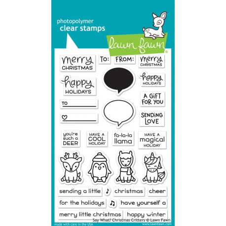 """Say What? Christmas Critters Clear Stamps 4""""x6"""" Lawn Fawn"""