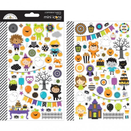 Pumpkin Party Icons Mini Cardstock Stickers Doodlebug