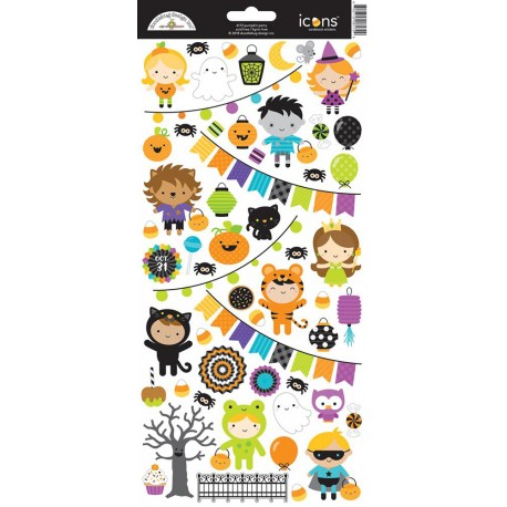"""Pumpkin Party Icons Cardstock Stickers 6""""x12"""" Doodlebug"""