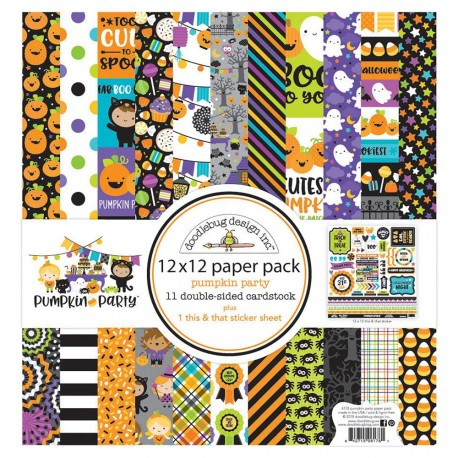 "Pumpkin Party Paper Pack Kit 12""x12"" This & That Doodlebug"