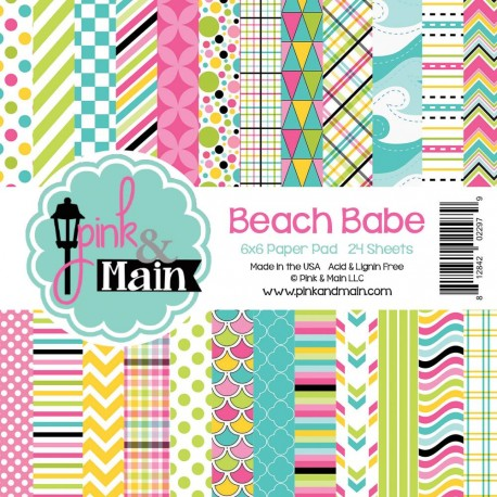 """Beach Babe Double-Sided Paper Pad 6""""x6"""" Pink & Main"""