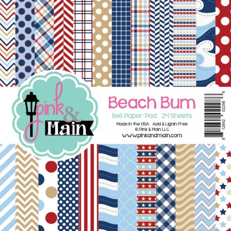 """Beach Bum Double-Sided Paper Pad 6""""x6"""" Pink & Main"""