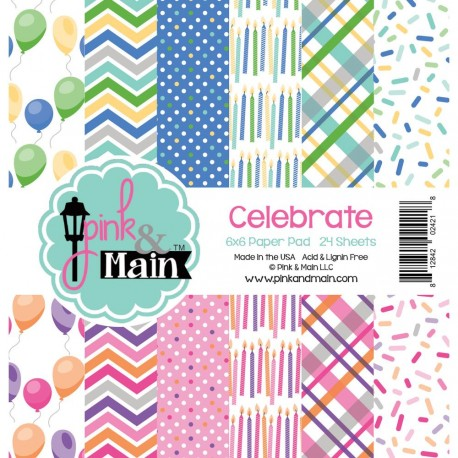 "Celebrate Double-Sided Paper Pad 6""x6"" Pink & Main"