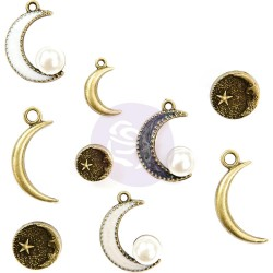 Moon Child Crescent 9 Pkg Metal Trinkets Prima Marketing