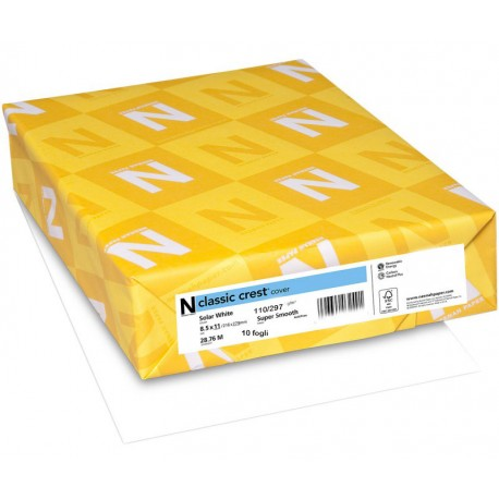 """Neenah Solar White Super Smooth Paper 110 Lb Classic Crest Cardstock 8,5""""x11"""""""