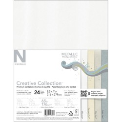 "Metallic Cardstock 8,5""x11"" 4 Colors 24 Pkg Neenah"