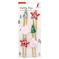 Merry Days Decorative Clips 6 Pkg Crate Paper