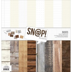 "Sn@p! Wood & Notebook Basics Paper Pack 12""x12"" Simple Stories"