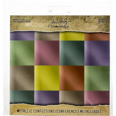 "Confections Paper Stash Kraft Metallic Paper Pad 8""x8"" Idea-Ology"