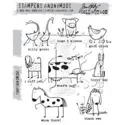 "Funny Farm Cling Rubber Stamp Set 7""x8,5"" Tim Holtz"