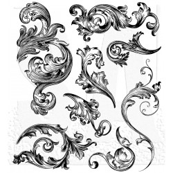 "Scrollwork Cling Rubber Stamp Set 7""x8,5"" Tim Holtz"