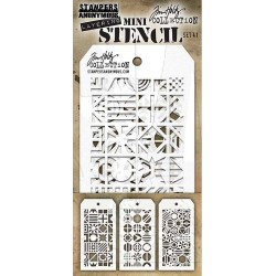 Set 41 Tim Holtz Mini Layering Stencil 3 Pkg