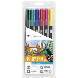 Tombow ABT Dual Brush Pen Set 6 Primary Colours