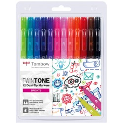 Tombow Twin Tone Dual-Tip Marker Set 12 Brights Colours