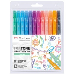 Tombow Twin Tone Dual-Tip Marker Set 12 Pastels Colours
