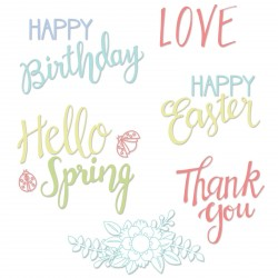 Spring Phrases Clear Stamps Sizzix