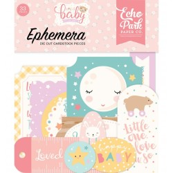 Hello Baby Girl Ephemera Die Cut Cardstock Pieces Echo Park