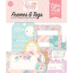 Hello Baby Girl Frames & Tags Die Cut Cardstock Pieces Echo Park