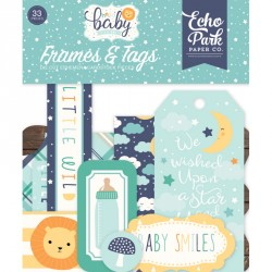 Hello Baby Boy Frames & Tags Die Cut Cardstock Pieces Echo Park