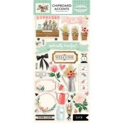 Flower Market Chipboard Accents Adhesive Cardstock Accents Carta Bella