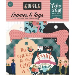 Coffee Frames & Tags Die Cut Cardstock Pieces Echo Park