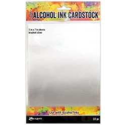 "Brushed Silver Alcohol Ink Cardstock 5""x7"" 10/Pkg Ranger"