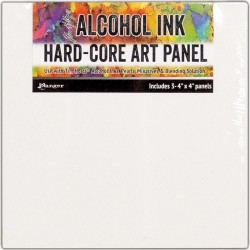 "Tim Holtz Alcohol Ink Hard Core Art Panel 4""X4"" 3/Pkg"