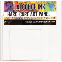 "Tim Holtz Alcohol Ink Hard Core Art Panel Square 4""x4"" 6""x6"" 8""x8"" 3/Pkg"