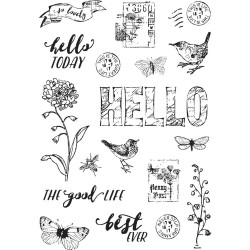 "Love Life Simple Vintage Botanicals Clear Stamps 4""x6"" Simple Stories"