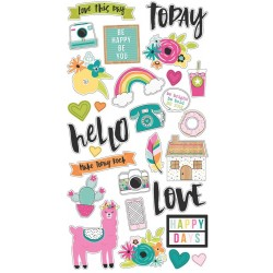 "Oh Happy Day Chipboard Stickers 6""x12"" Simple Stories"