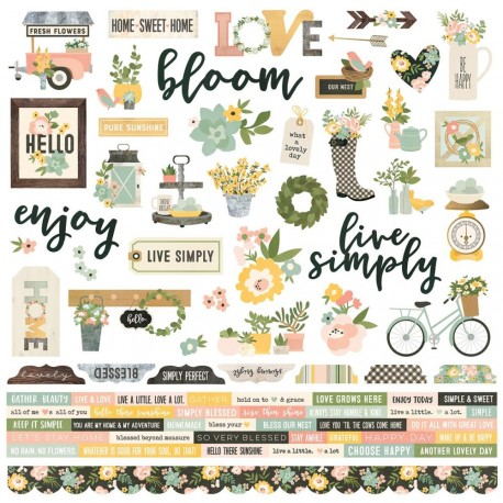"Spring Farmhouse Combo Cardstock Stickers 12""x12 Simple Stories"