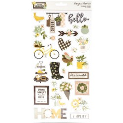 "Spring Farmhouse Chipboard Stickers 6""x12"" Simple Stories"