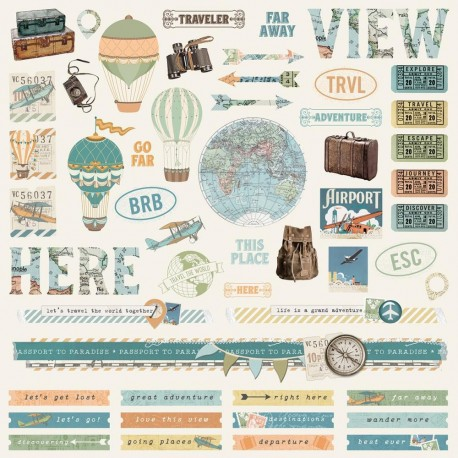 "Simple Vintage Traveler Combo Cardstock Stickers 12""x12 Simple Stories"