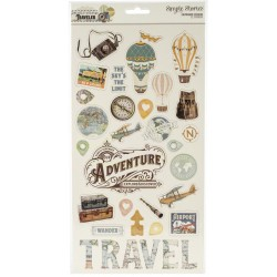 "Simple Vintage Traveler Chipboard Stickers 6""x12"" Simple Stories"