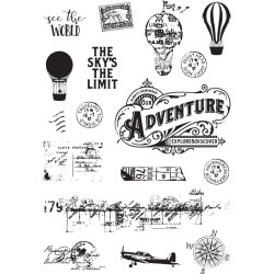 "See The World Simple Vintage Traveler Clear Stamps 4""x6"" Simple Stories"