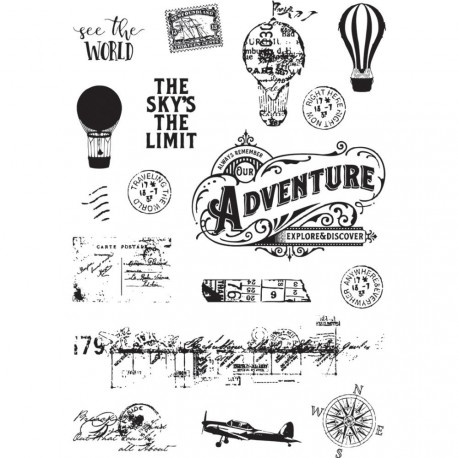 """See The World Simple Vintage Traveler Clear Stamps 4""""x6"""" Simple Stories"""