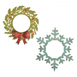 Wreath & Snowflake Thinlits Dies By Tim Holtz Sizzix