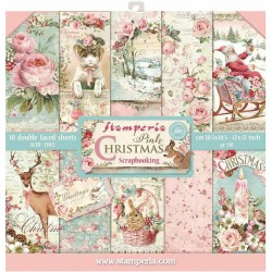 "Pink Christmas 8""x8"" Scrapbooking Paper Pad Stamperia"
