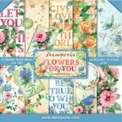 "Flowers for You Aquarelle 8""x8"" Scrapbooking Paper Pad Stamperia"