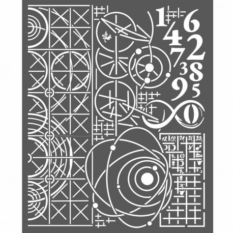 Cosmos Astronomy & Numbers Media Thick Stencil 20x25 cm Stamperia