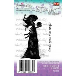 Graceful Flower Girl 4 Silhouettes Clear Polymer Stamp Polka Doodles
