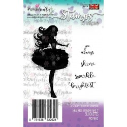 Graceful Flower Girl 2 Silhouettes Clear Polymer Stamp Polka Doodles
