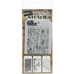Set 43 Tim Holtz Mini Layering Stencil 3 Pkg