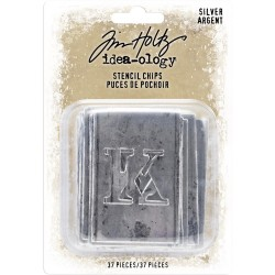 Silver Stencil Chips Idea-ology by Tim Holtz