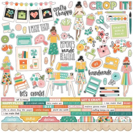 "Hey, Crafty Girl Combo Cardstock Stickers 12""x12 Simple Stories"