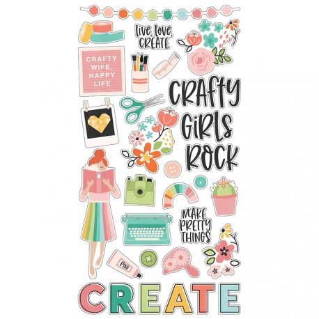 """Hey, Crafty Girl Chipboard Stickers 6""""x12 Simple Stories"""