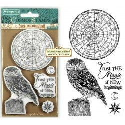 Cosmos Owl Timbri Rubber Stamps Stamperia