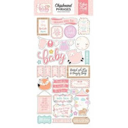 "Hello Baby It's a Girl 6""x12"" Adhesive Chipboard Phrases Echo Park"