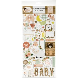 "Baby Girl 6""x12"" Adhesive Chipboard Accents Echo Park"