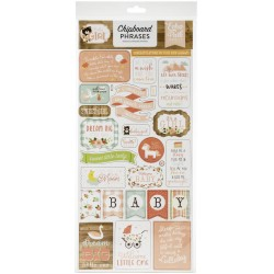 "Baby Girl 6""x12"" Adhesive Chipboard Phrases Echo Park"